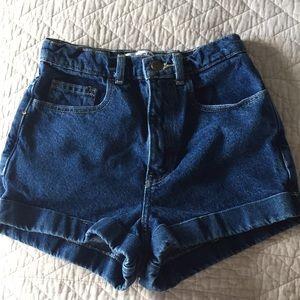 American Apparel Dark wash high waisted shorts